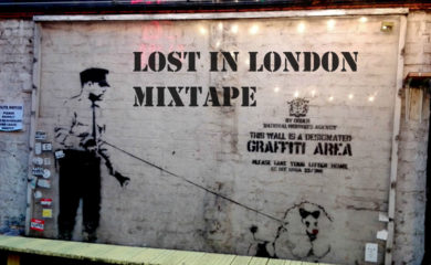 Lost in London sign in the style of Banksy