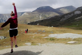 Rima jumping in mountains