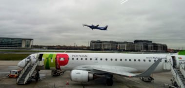 TAP plane at London Docklands airport