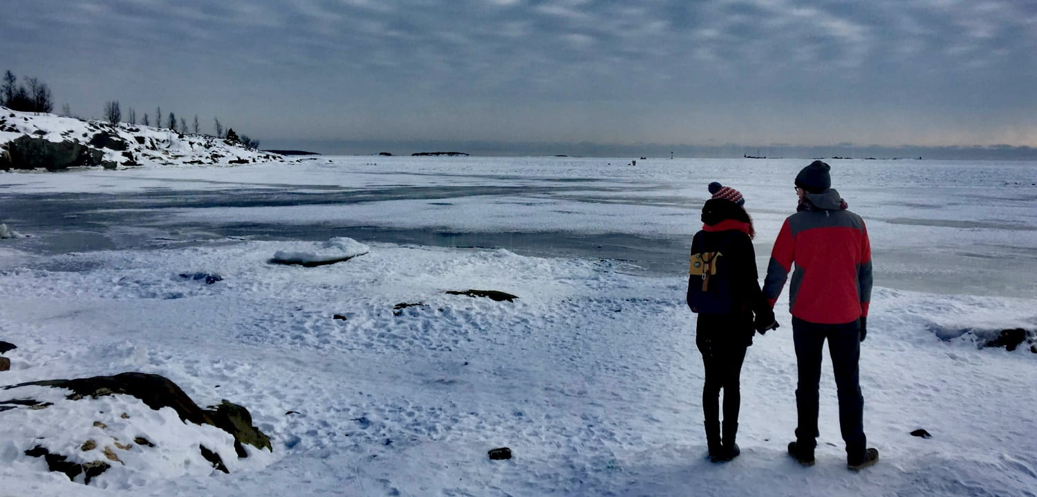 John and Rima by the frozen sea