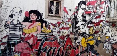 Lisbon wall with graffiti