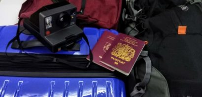 Packing for Da Nang - camera, passports and suitcase