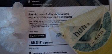Screenshote from Ban plastic packaging petition