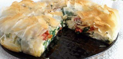 Feta, spinach and tomato pie