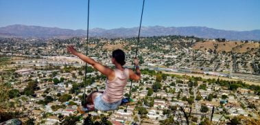 Rima on a swing at the top of Elysian Park