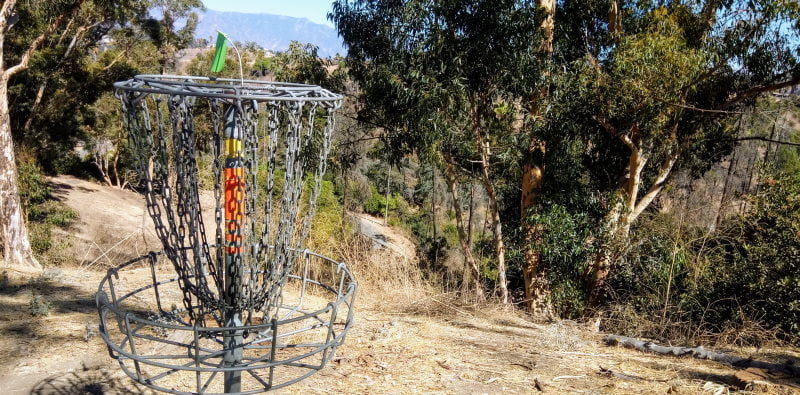 A disc golf hoop