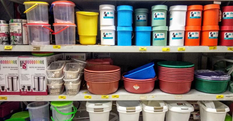 Assorted plastic goods on a shop shelf