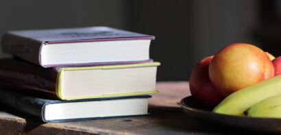Books and fruit
